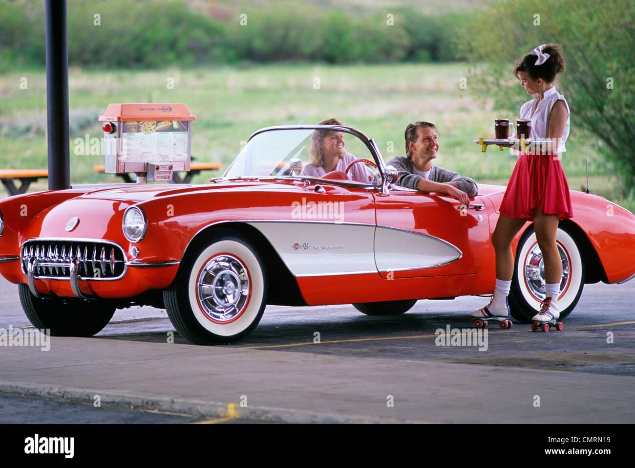 Roller skating visalia - 1960 1960s 1980 1980s Retro Couple Drive In Waitress Roller Skates Server Granby Colorado Stock