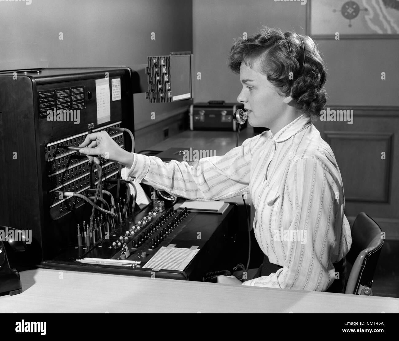 1950s Woman Office Telephone Switchboard Receptionist