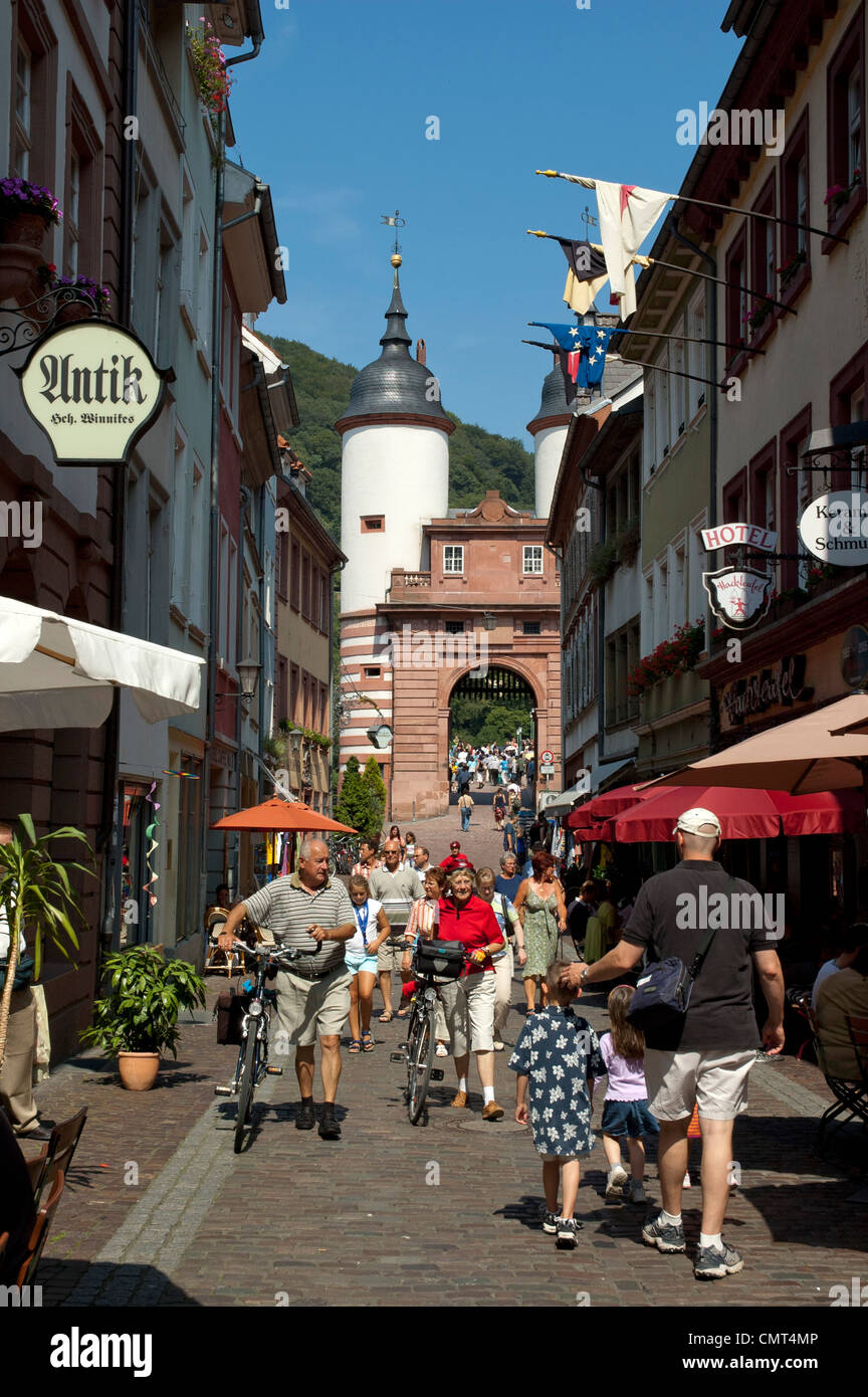 busy old street in heidelberg germany stock photo 47244422 alamy. Black Bedroom Furniture Sets. Home Design Ideas