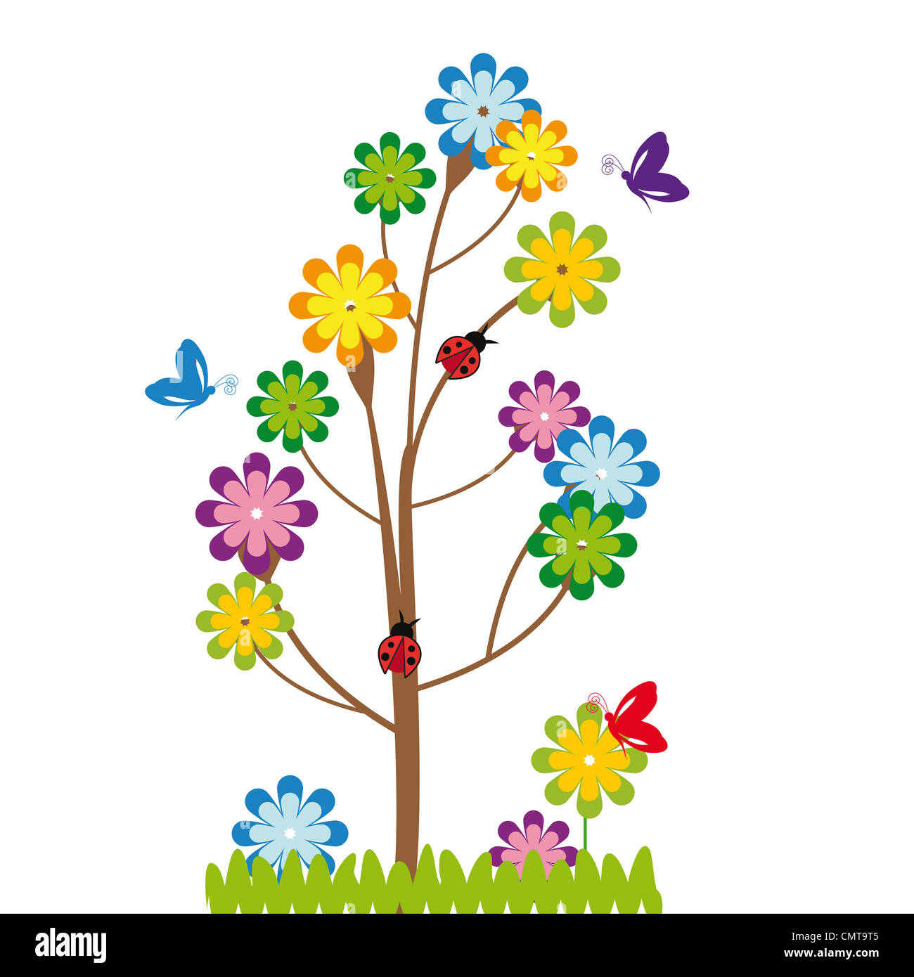 cute kids cartoon with tree and flowers stock photo royalty free