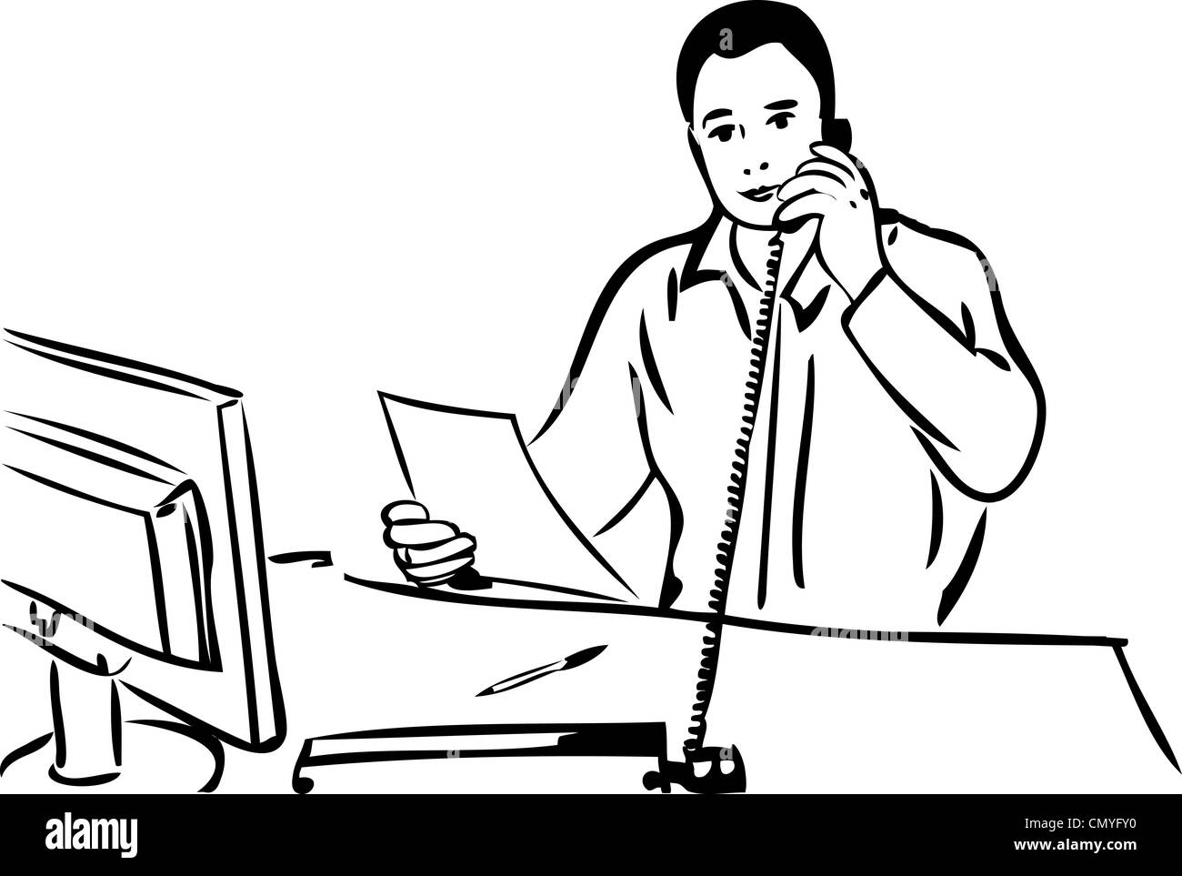 a sketch of a man talking on the phone Stock Photo ...