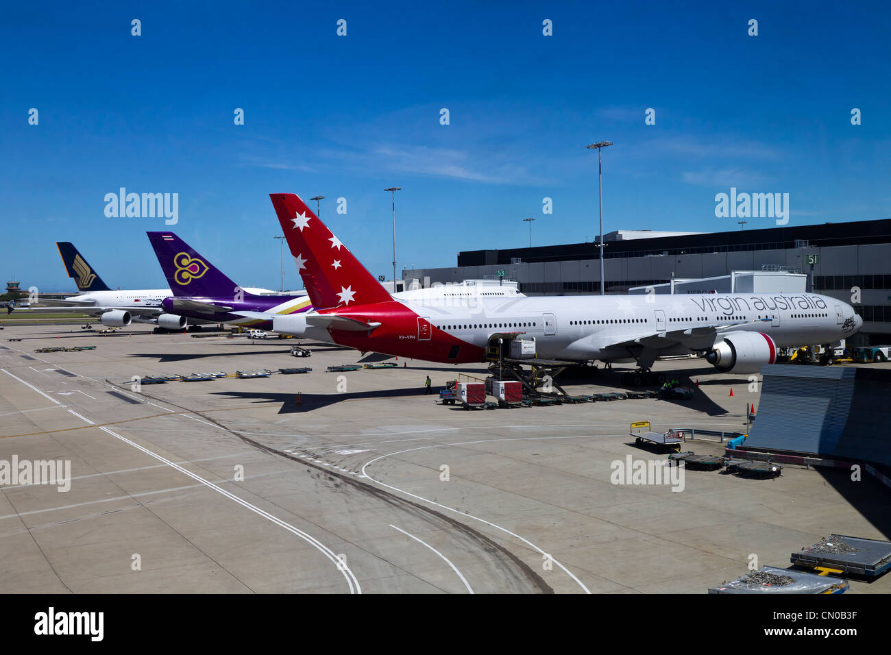 Blue apron singapore - Singapore Airline Thai Airways And Virgin Australia Parked At Sydney Airport Stock Image