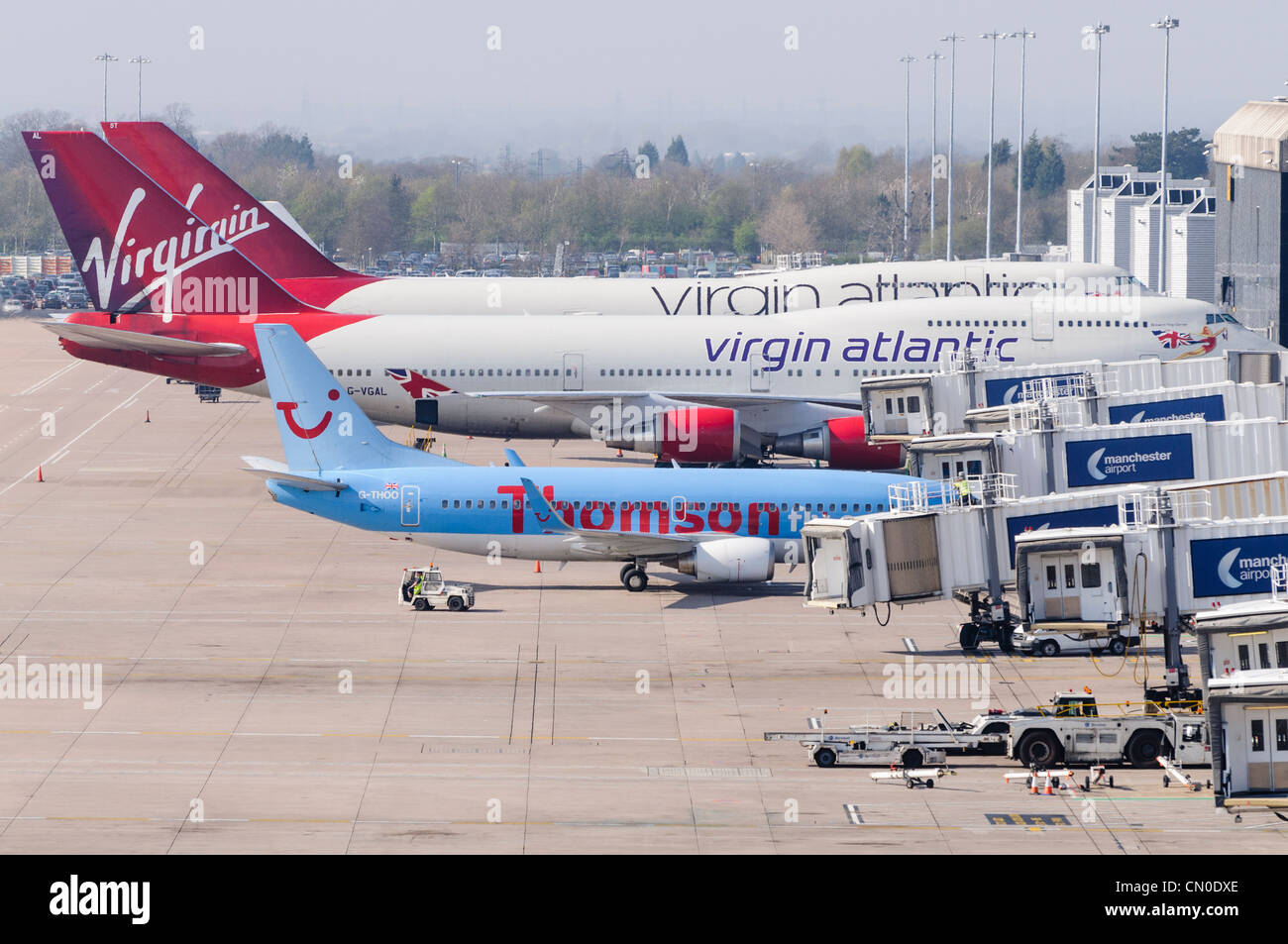 White apron homebase - Virgin Atlantic 747s And A Thompson 737 33v On Stand At Manchester Airport Terminal 2