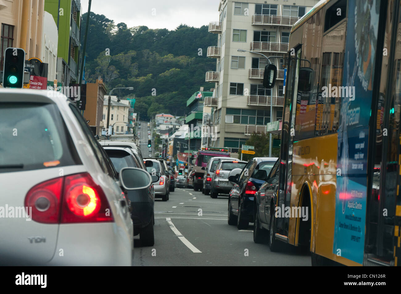 Downtown traffic wellington new zealand stock photo for 126 the terrace wellington