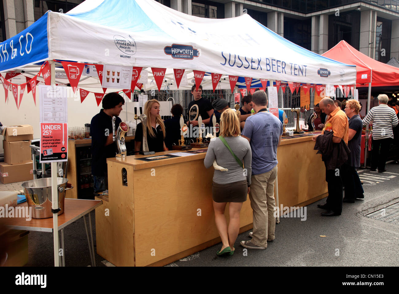 Sussex beer tent at the u0027Feast on the Bridgeu0027 on Southwark Bridge London England during the Thames Festival 2011 & Sussex beer tent at the u0027Feast on the Bridgeu0027 on Southwark Bridge ...