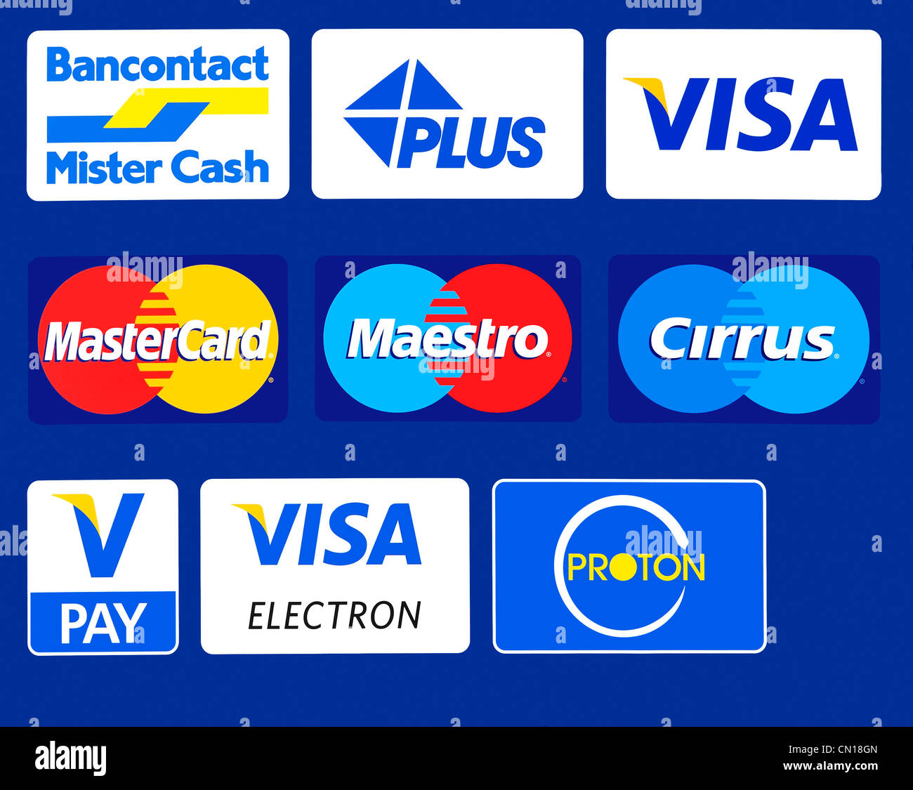 Sign Showing Trademark Logos Of Credit Cards On Automated