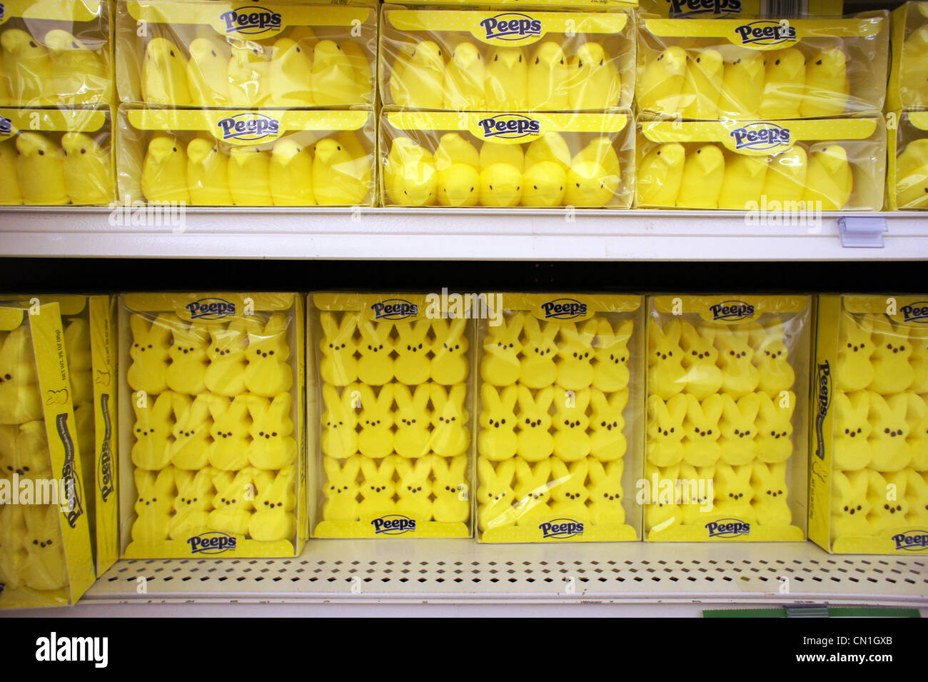 easter peeps marshmallow candy for sale on grocery store shelves stock photo royalty free image. Black Bedroom Furniture Sets. Home Design Ideas