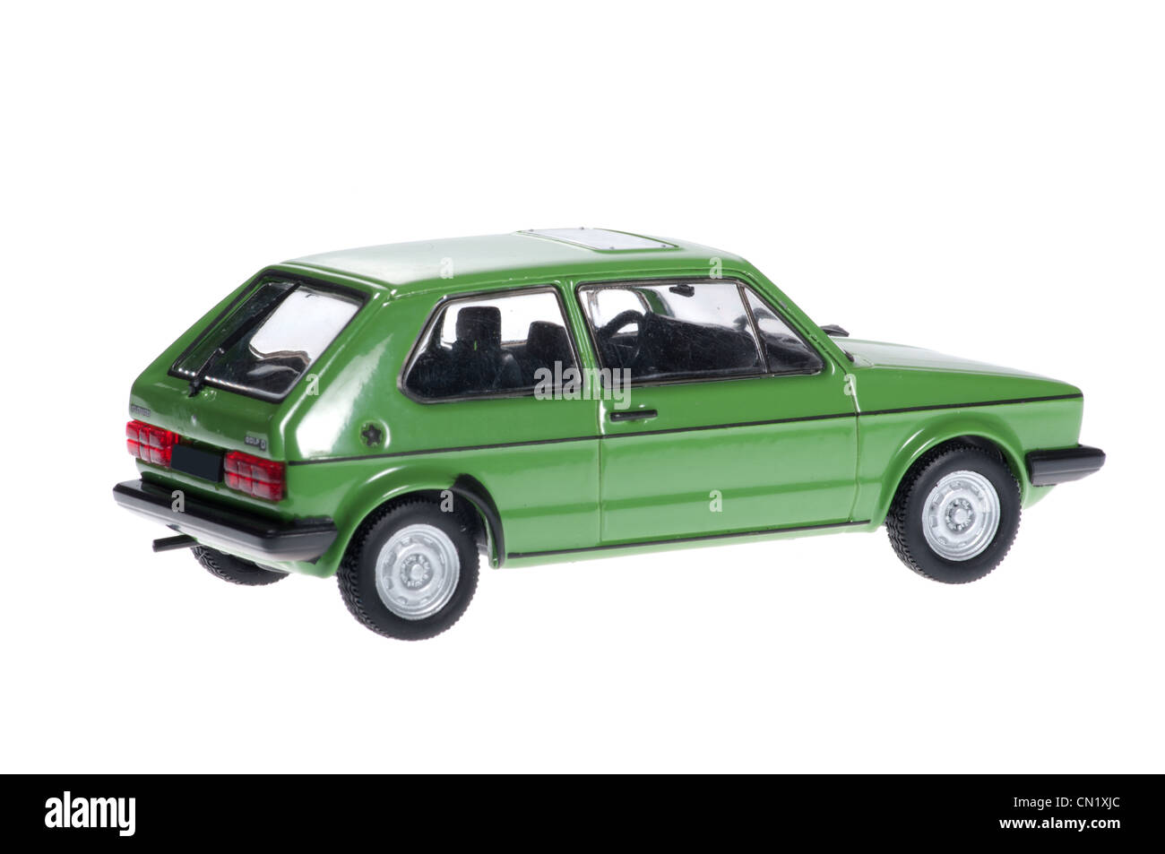 the model of old green volkswagen golf stock photo, royalty free