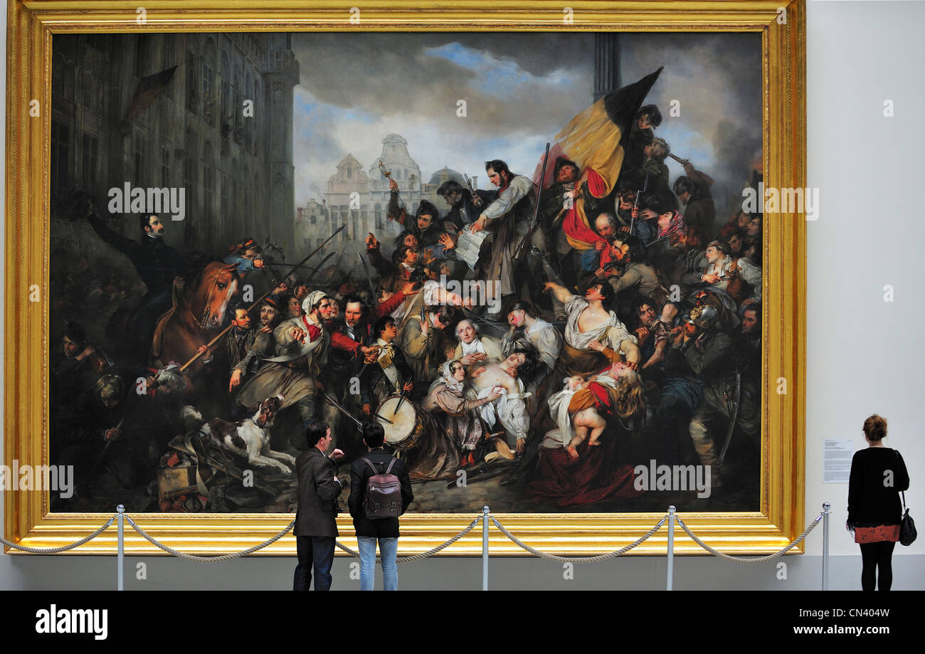 Painting the episode of the belgian revolution of 1830 by gustave wappers in the museum of ancient art brussels belgium