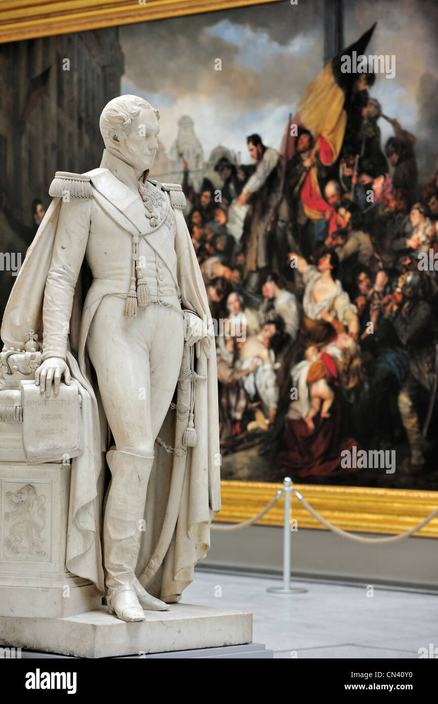 statue of king leopold i and painting the episode of the belgian revolution of 1830 in