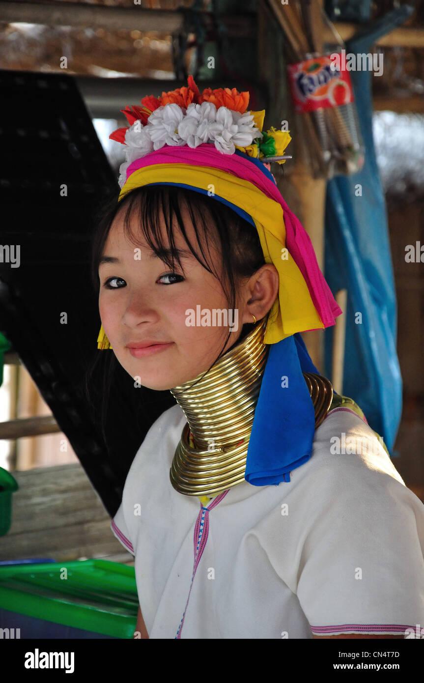 A Young Kayan Lahwi Girl At Karen Long Neck Hill Tribe