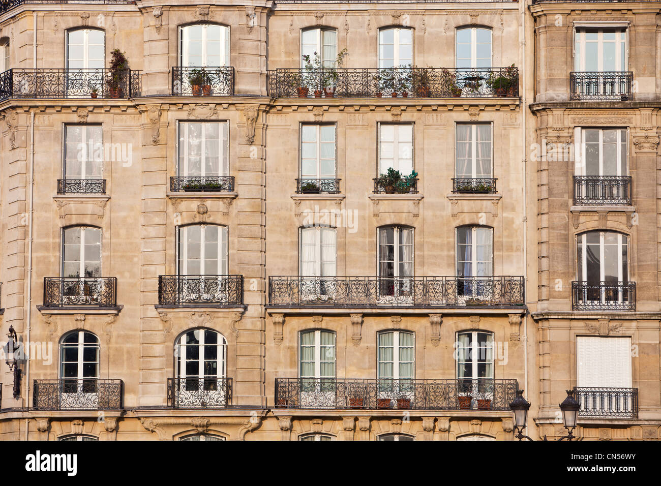 france paris haussmann building type facade on the ile st louis stock photo royalty free. Black Bedroom Furniture Sets. Home Design Ideas