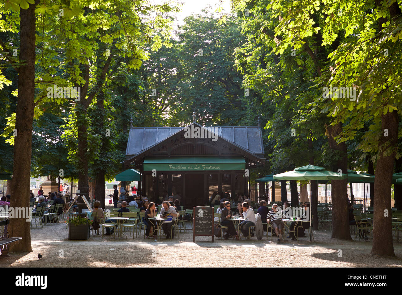 France paris st michel district the luxembourg gardens cafe stock photo royalty free image - Restaurant rue des bains luxembourg ...