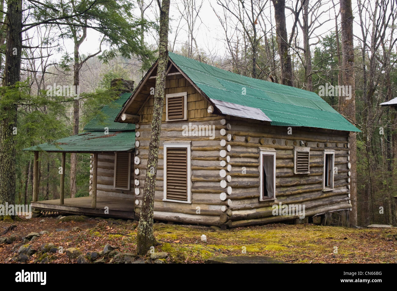 Log Cabin At Millionaires Row In Elkmont Area Of The Great