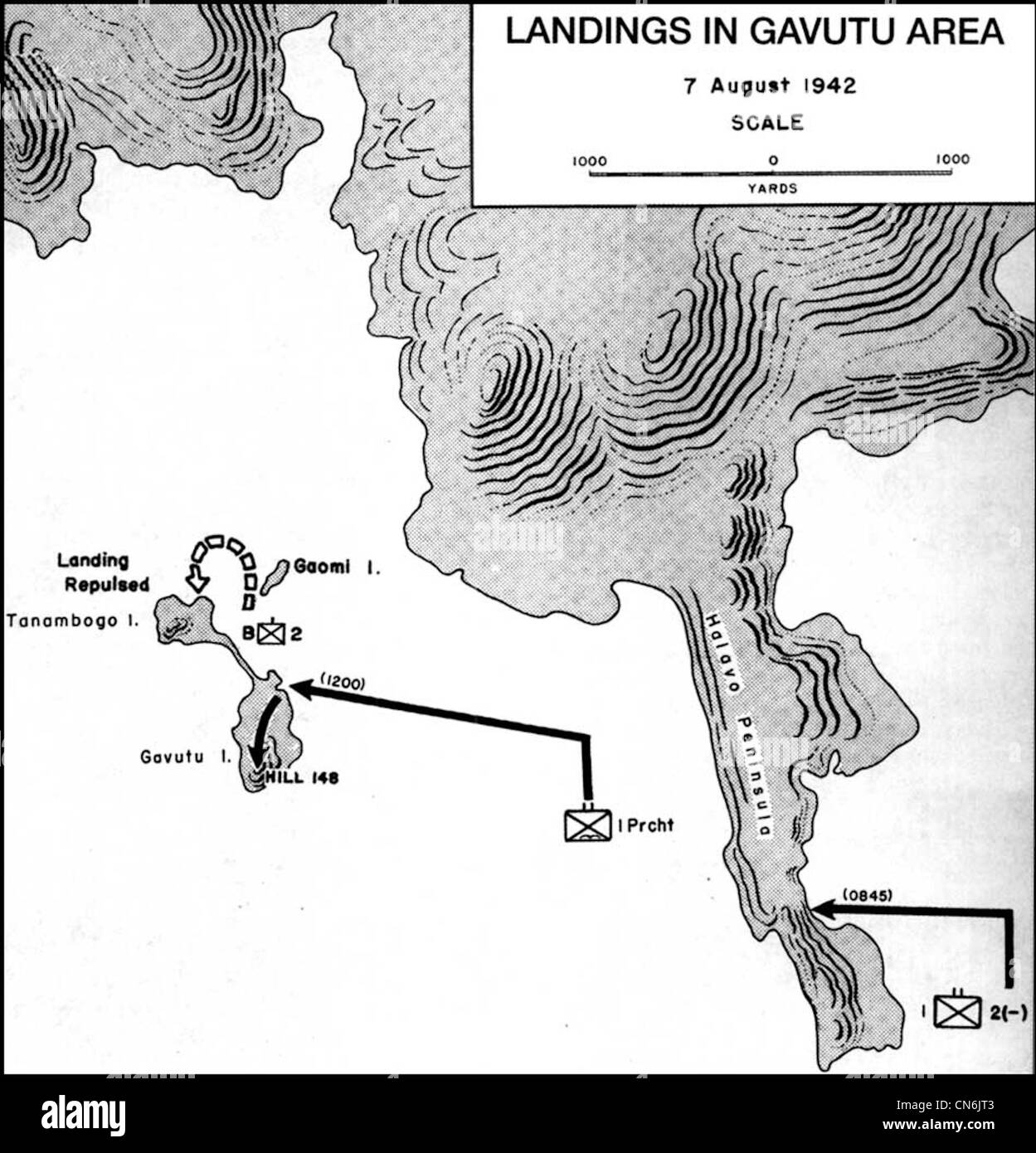 Map of US Marine landings on Gavutu and Tanambogo Solomon