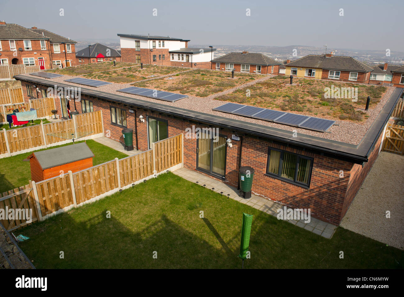 New Build Social Housing With Solar Panels And A Green Roof
