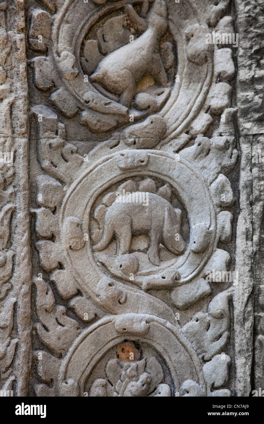 Angkor wat cambodia base relief stone carving showing a