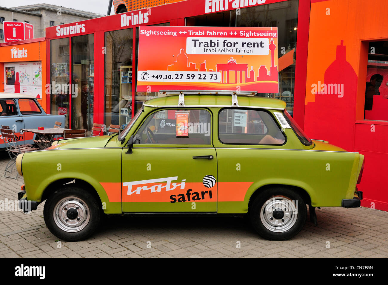 Berlin, Germany. Old Trabant cars for rent at \'Trabi World\' in ...