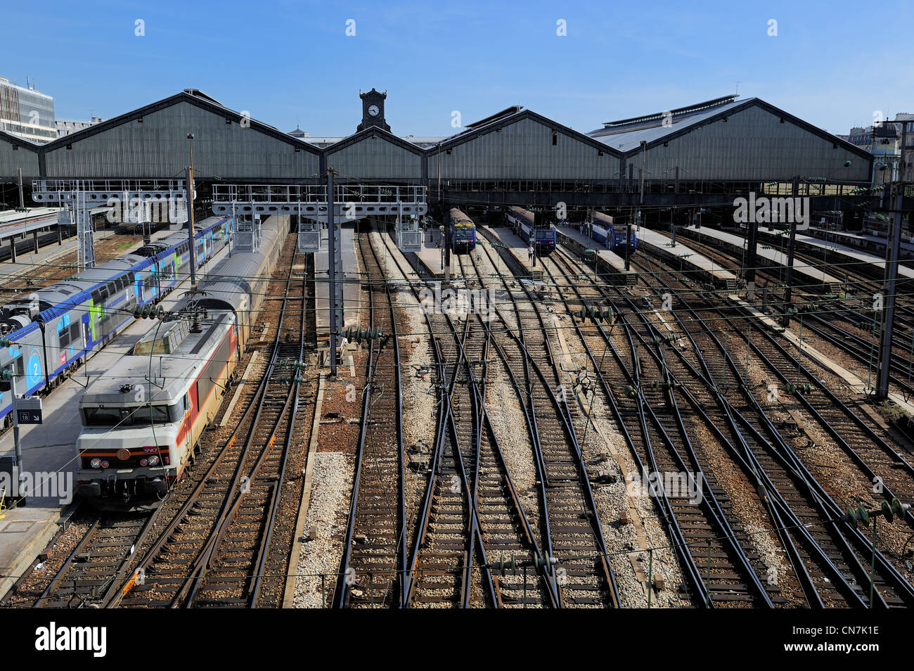 France, Paris, Gare Saint Lazare train station seen from ...