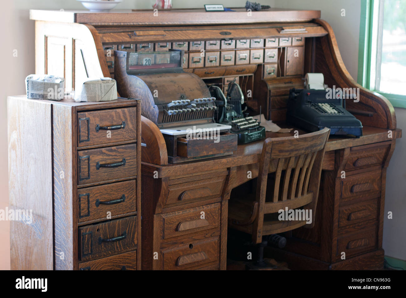 Stock Photo - antique roll top desk with typewriter - Antique Roll Top Desk With Typewriter Stock Photo, Royalty Free