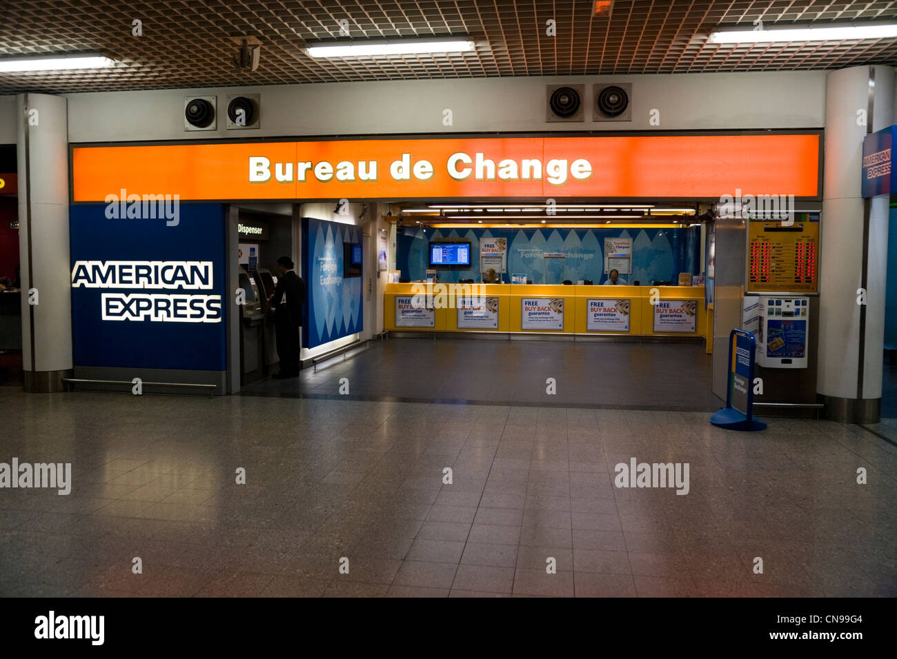 Bureau De Change Office Operated By American Express At Heathrow Airport Terminal  Three London Uk