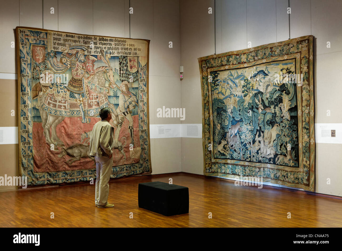France, Creuse, Aubusson, tapestry museum, Aubusson tapestry work ...