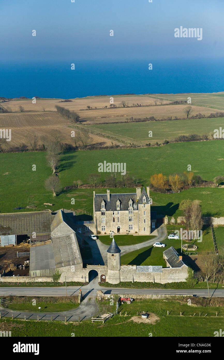 france calvados saint pierre du mont manor aerial view stock photo royalty free image. Black Bedroom Furniture Sets. Home Design Ideas