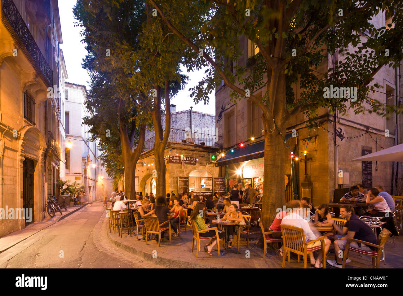 france herault montpellier historical center restaurant cafe stock photo royalty free image. Black Bedroom Furniture Sets. Home Design Ideas