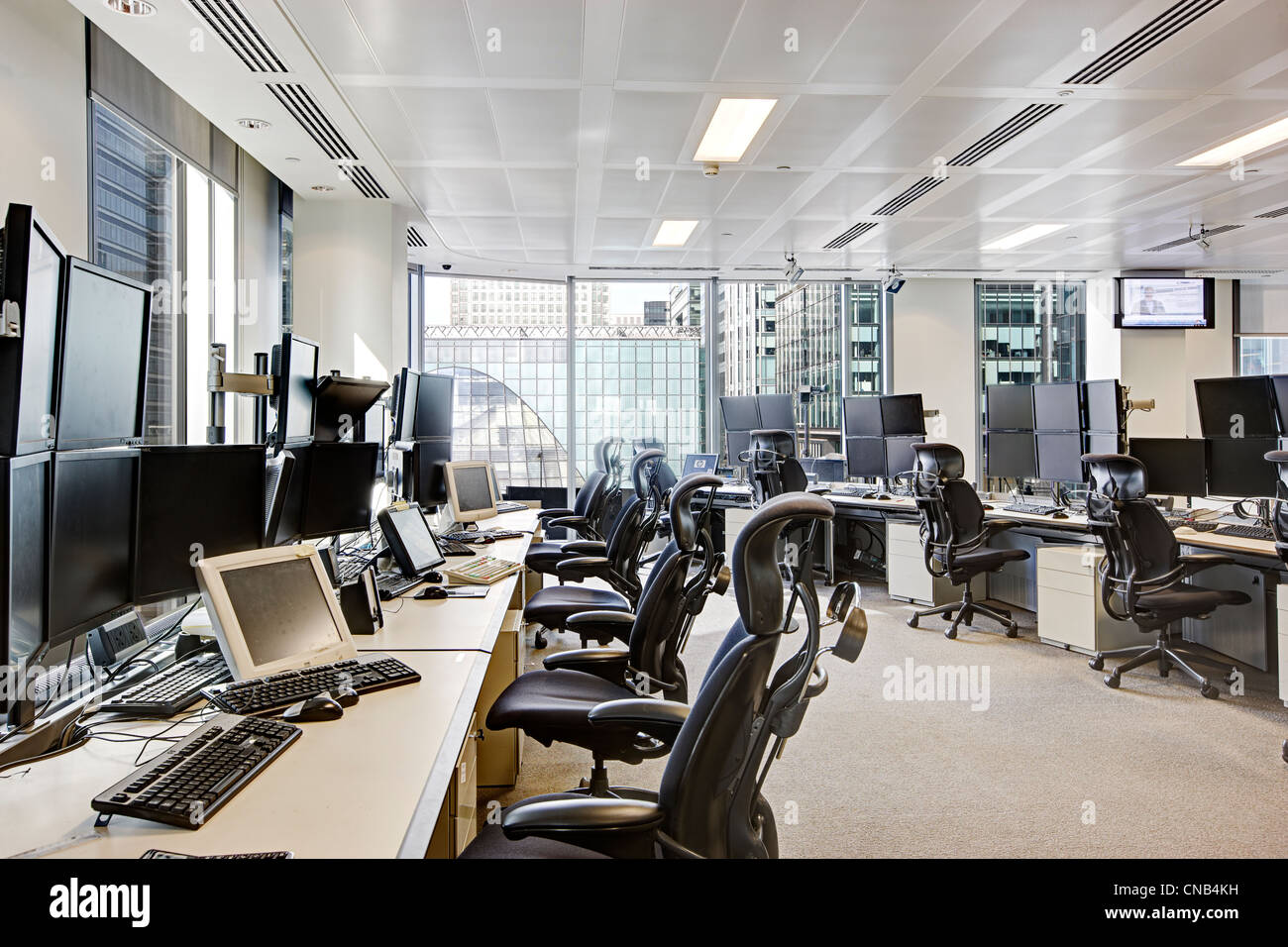 Trading Desks City London Canary Wharf Office Bank Stock
