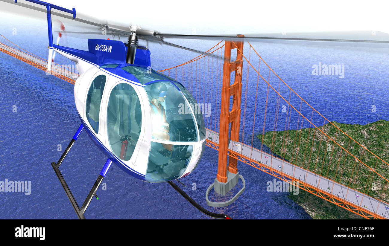 Helicopter Flying Over The Golden Gate Bridge Bird Eye