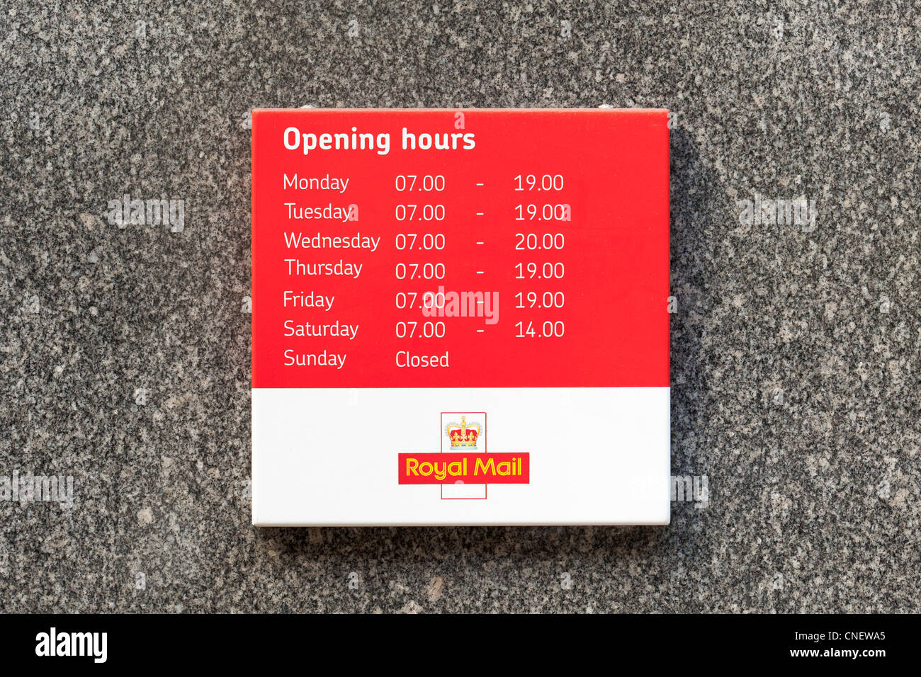 Post office opening times sign, UK Stock Photo, Royalty Free Image ...