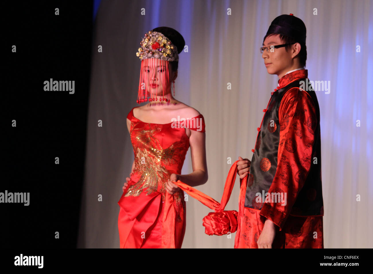 Traditional Chinese Wedding Outfits Couple Stock Photo Royalty