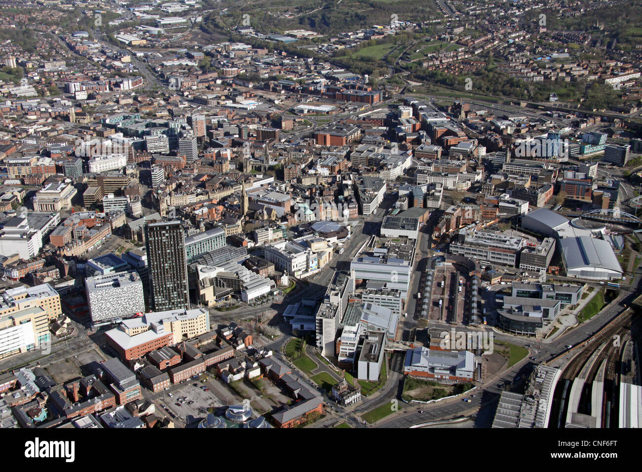 Aerial View Of Sheffield City Centre Stock Photo Royalty