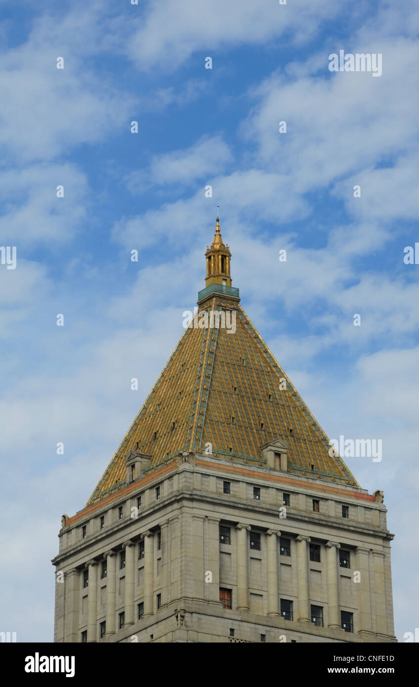 Blue Sky White Clouds Portrait Gilded Terracotta Pyramid Roof Neo Classical  Architecture Thurgood Marshall