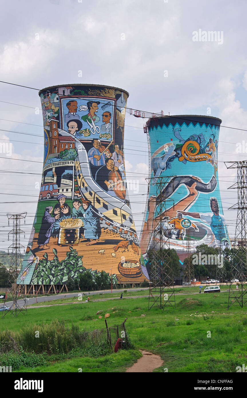 Mural paintings on orlando power station cooling towers for African mural painting