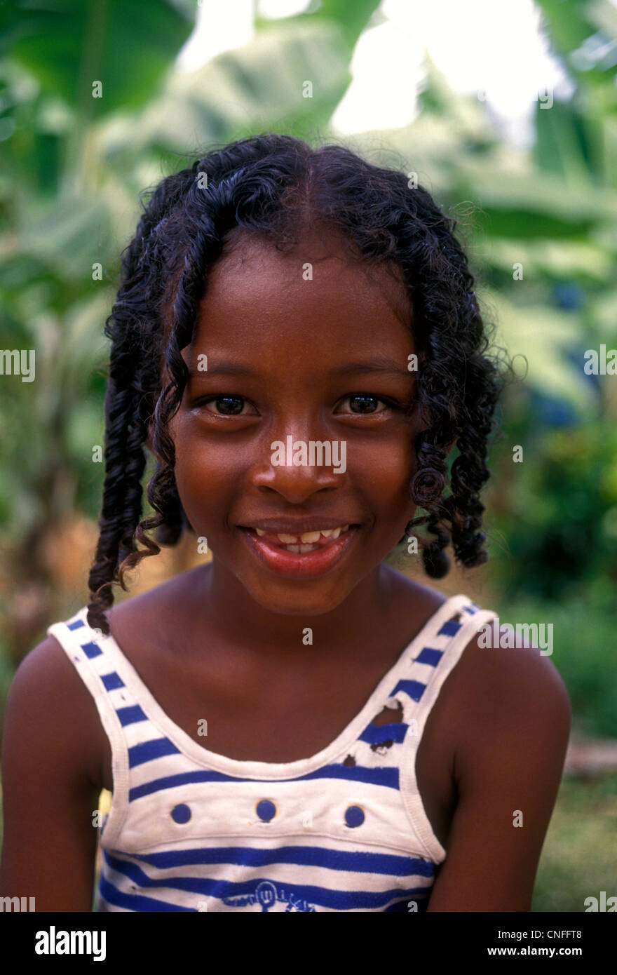 Dominican Girl Young Female Child Castle Bruce Dominica West Indies Caribbean