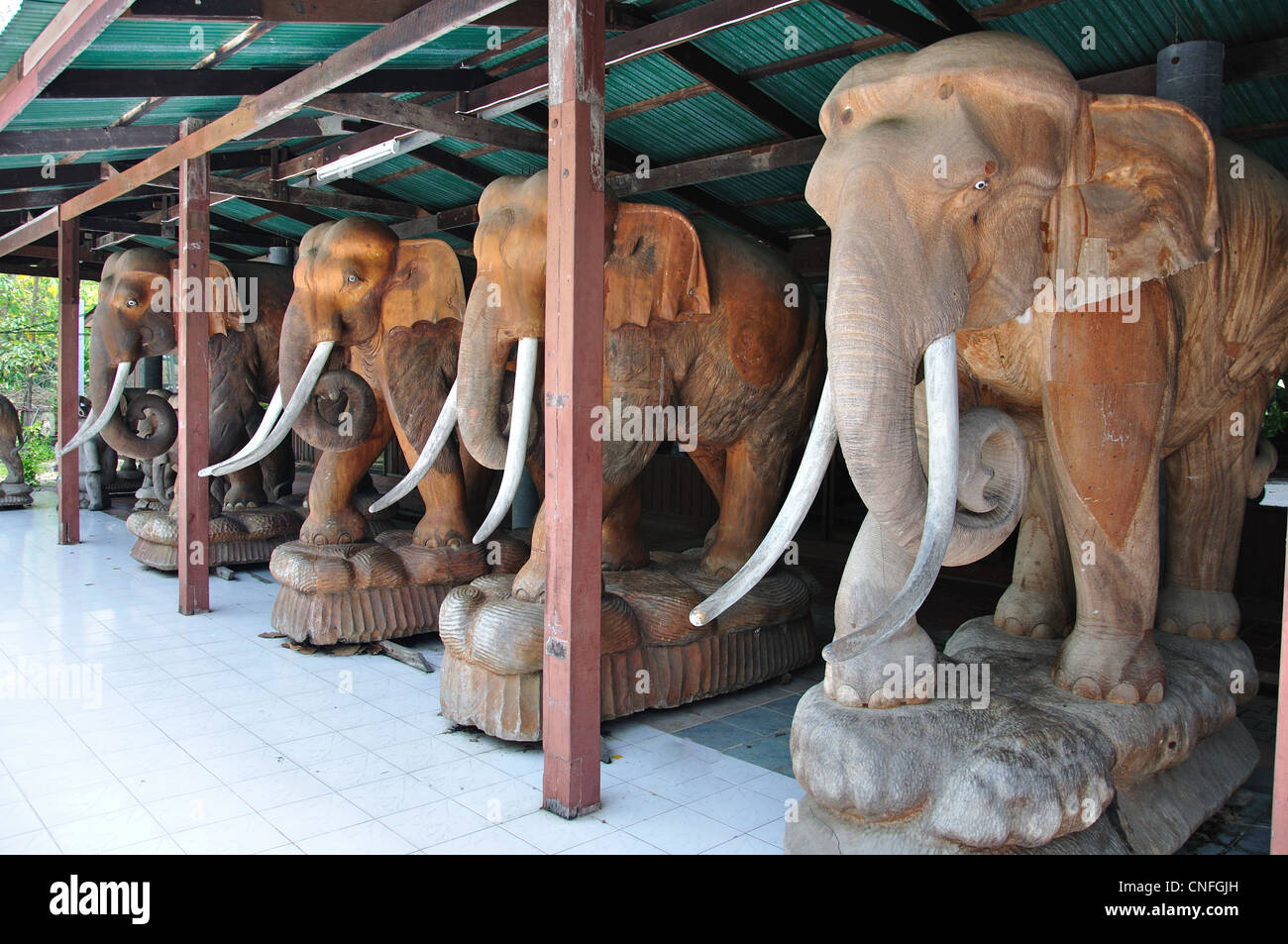 Giant Wood Carved Elephants At The Royal Thai Wood Carving