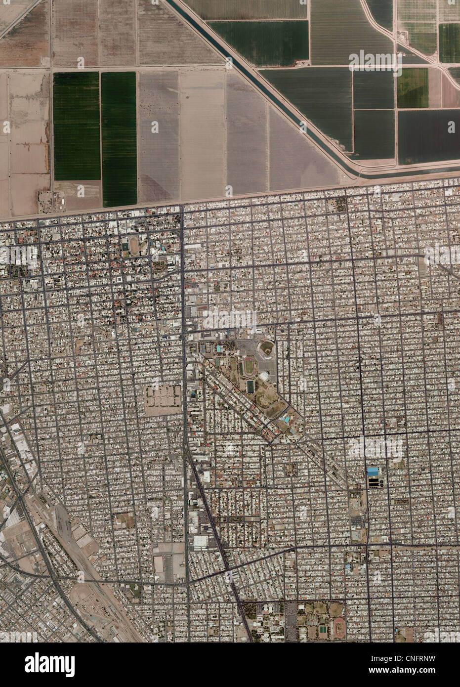 aerial photo map of US Mexican border Imperial Valley Calexico Stock