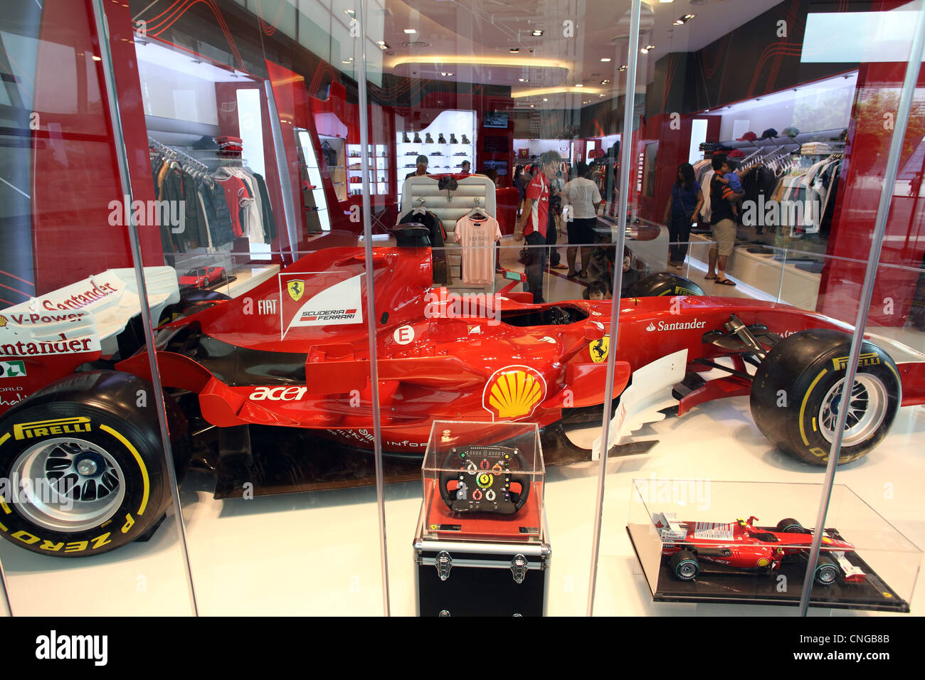 ferrari formula one racing car inside ferrari shop at the marina bay stock photo royalty free. Black Bedroom Furniture Sets. Home Design Ideas