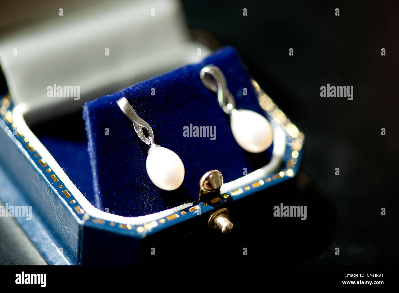 pair of silver and pearl antique earrings in a blue velvet jewelry