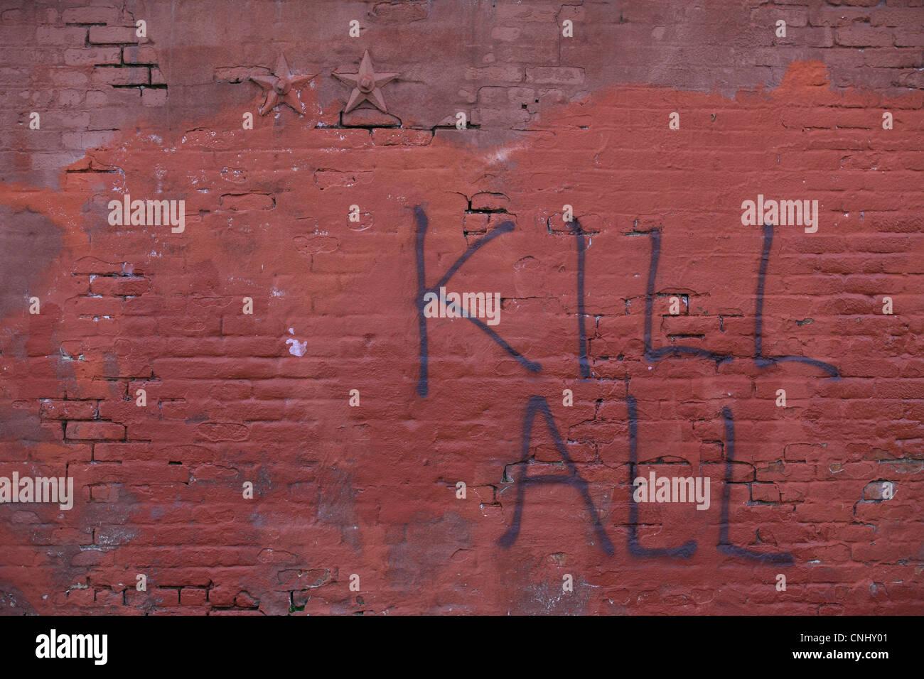 Grafiti wall red - Violent Hateful Graffiti Incitement To Violence Or Murder Kill All Written On Red Wall In Williamsburg Brooklyn Nyc Usa