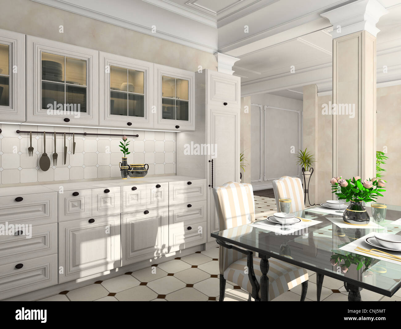 Kitchen With The Classic Furniture. 3D Render
