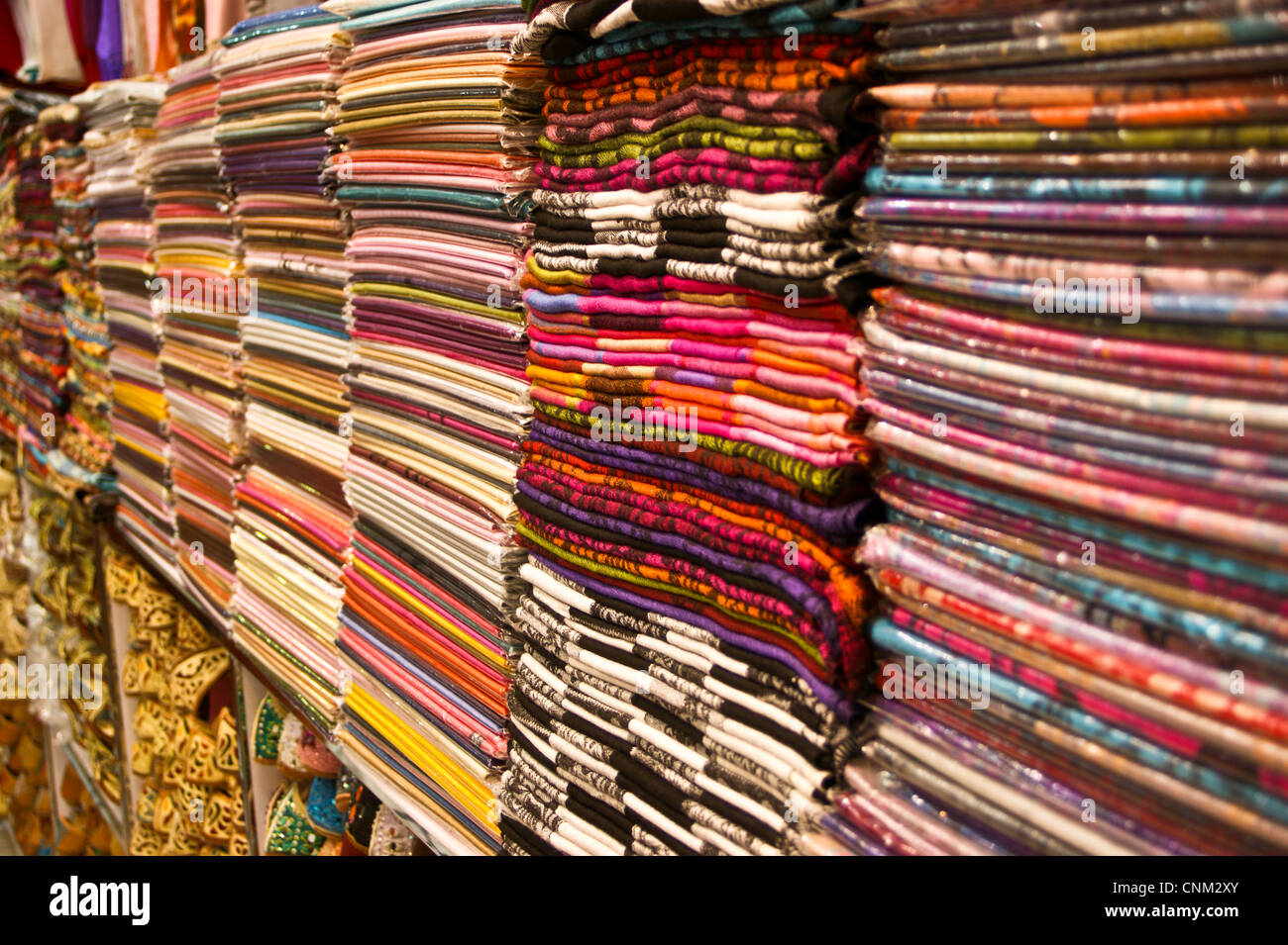Colourful pashmina scarves in an Indian shop in the Old Souk ...