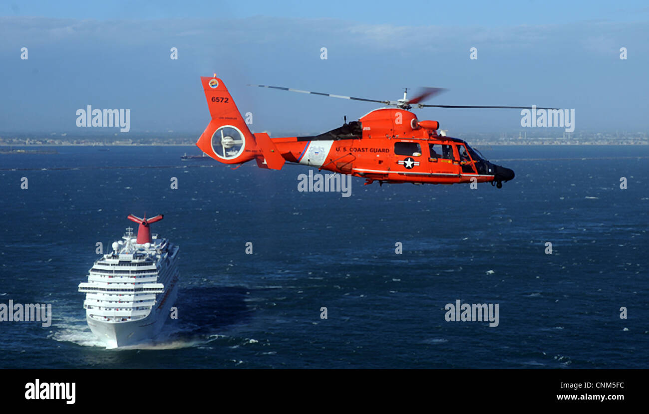 US Coast Guard Dolphin Helicopter Passes An Incoming Cruise Ship - Coast guard cruise ship