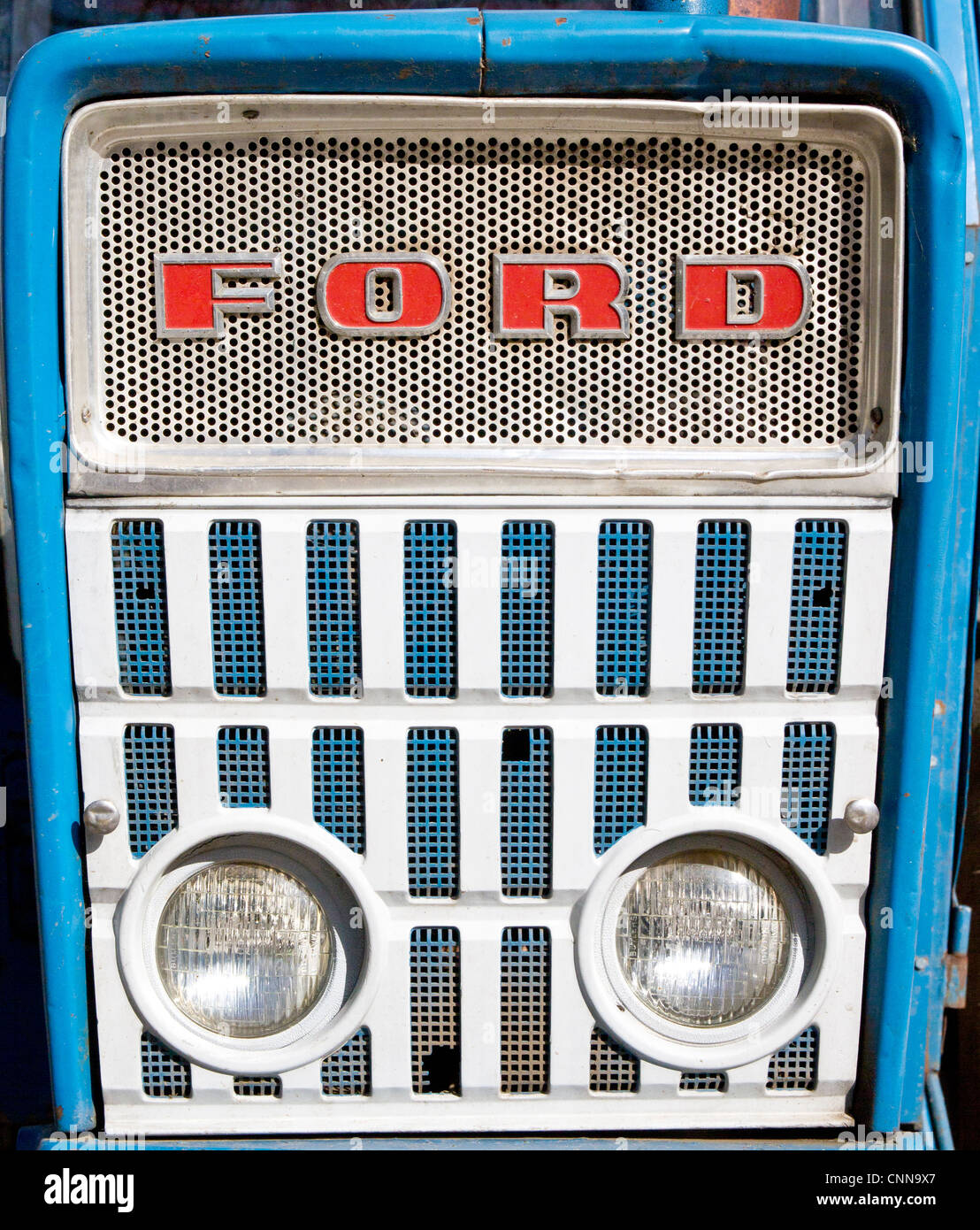 Ford 4000 tractor grill and headlights stock image