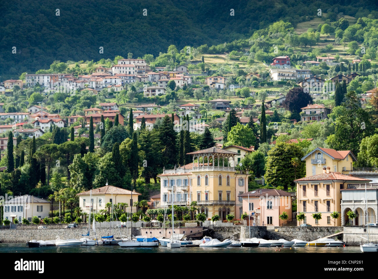 tremezzo lake front with hotel villa marie at the centre lake como stock photo royalty free. Black Bedroom Furniture Sets. Home Design Ideas