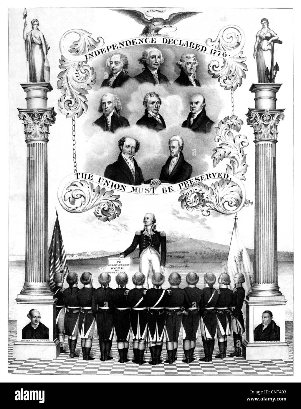 stock photo vintage american history print of the first eight presidents of the united states of america - Presidents Of The United States Of America