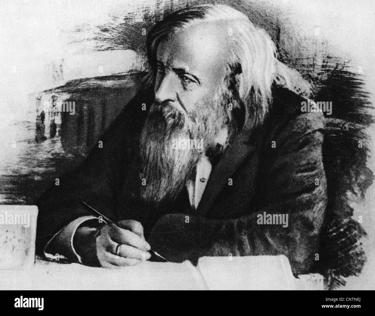 Mendeleev dmitri ivanovich 821834 221907 russian chemist mendeleev dmitri ivanovich 821834 221907 russian chemist inventor of the periodic table of elements portrait drawin gamestrikefo Image collections
