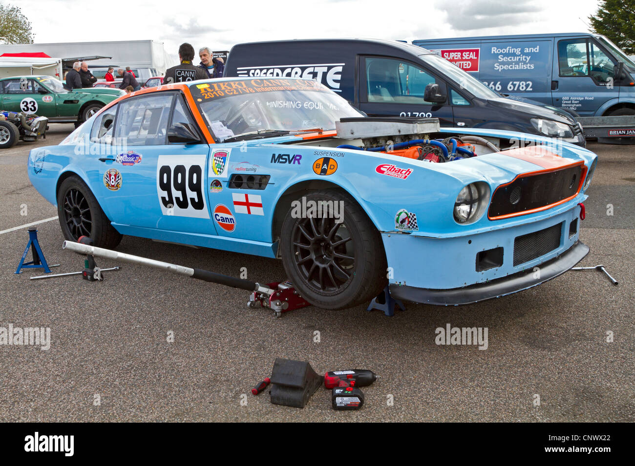 aston martin v8 vantage 1980. 1980 aston martin v8 vantage in the paddock being prepared for cscc hvra challenge