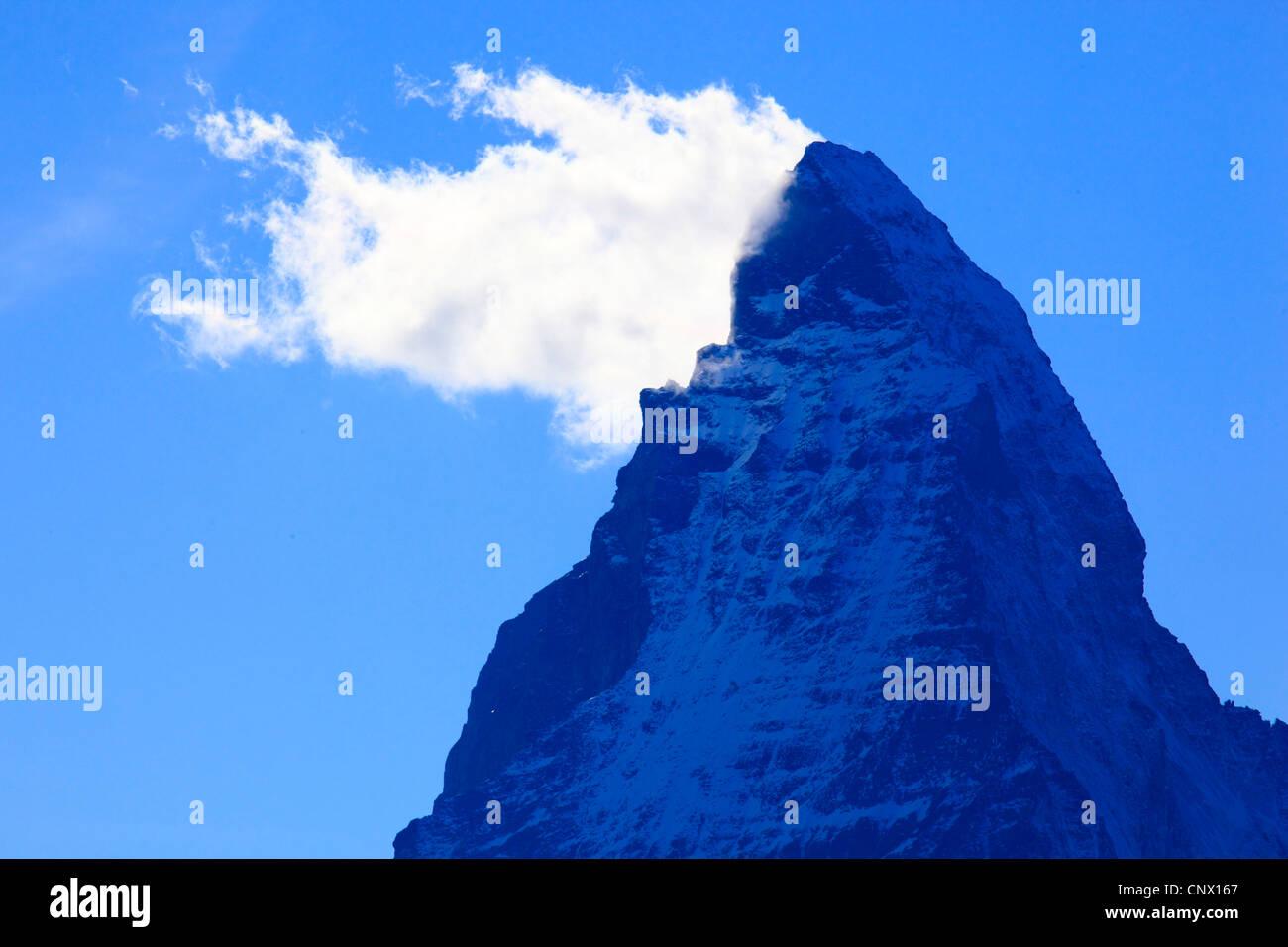 top of the matterhorn lying in shadow switzerland valais stock